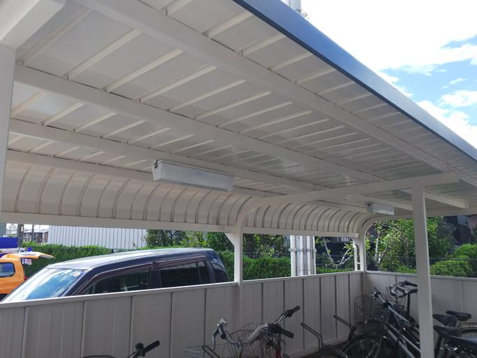 愛知県あま市の駐輪場の塗装工事の塗装後の写真