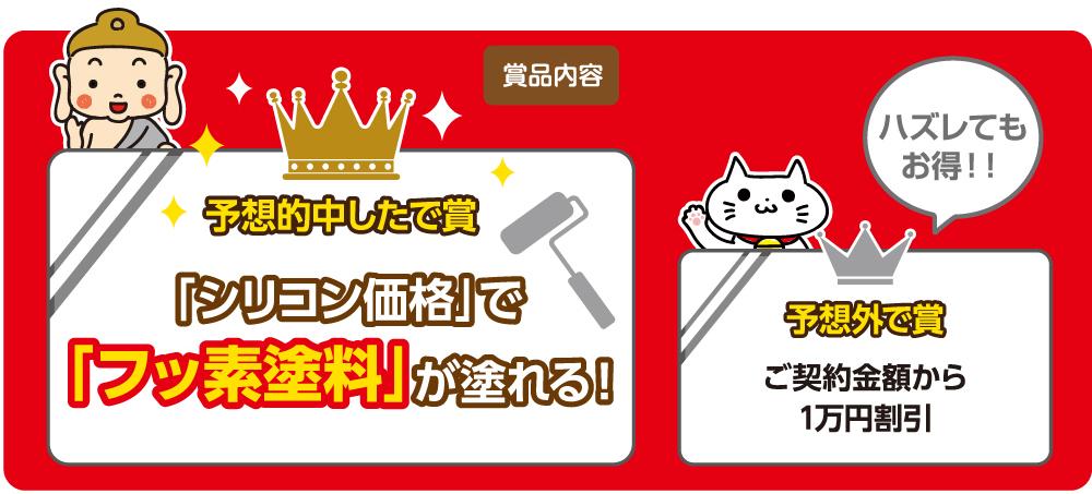 シリコン価格でフッ素塗料が濡れる!ご契約金額から1万円割引